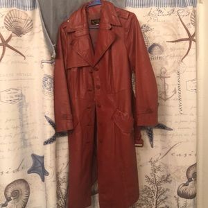 Reddish brown leather trench coat